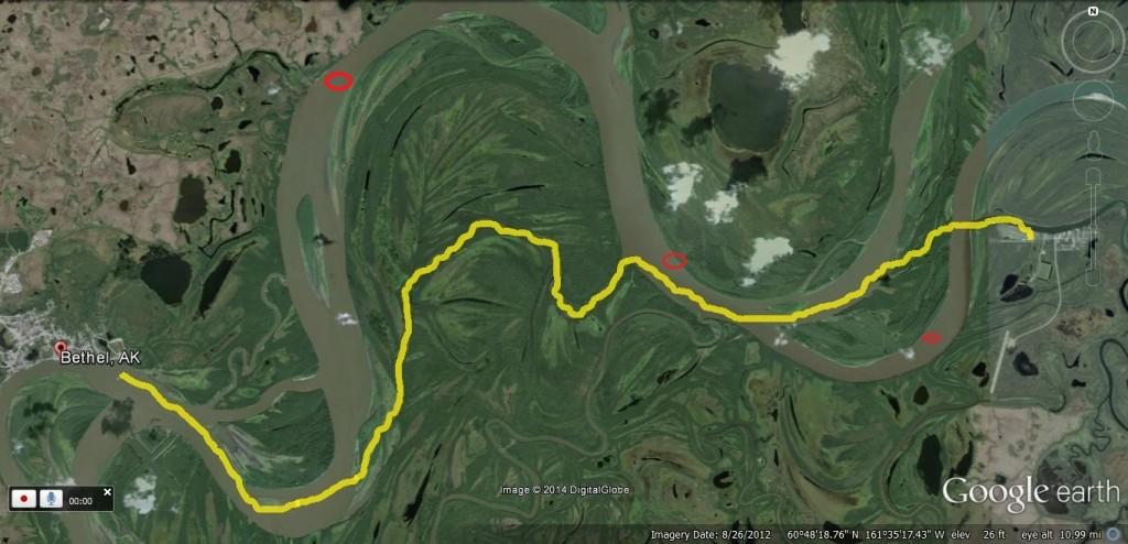 Map of 12-5 Open Water & Thin Ice Areas Between Bethel & Kwethluk