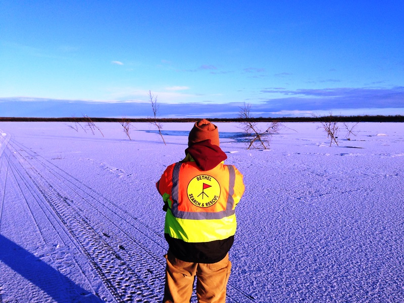 BSAR member looks back at small open hole below Kwethluk