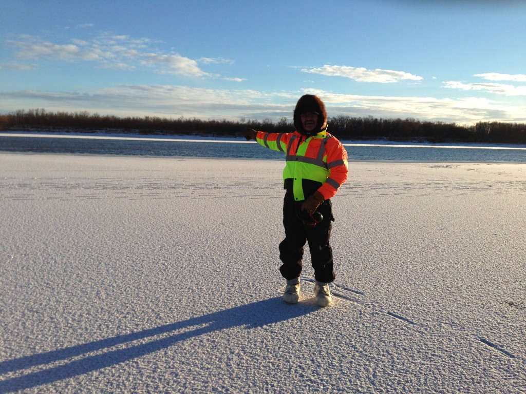 BSAR member Nick Phillips points out the large open hole in Kuskoquak Slough above Kwethluk
