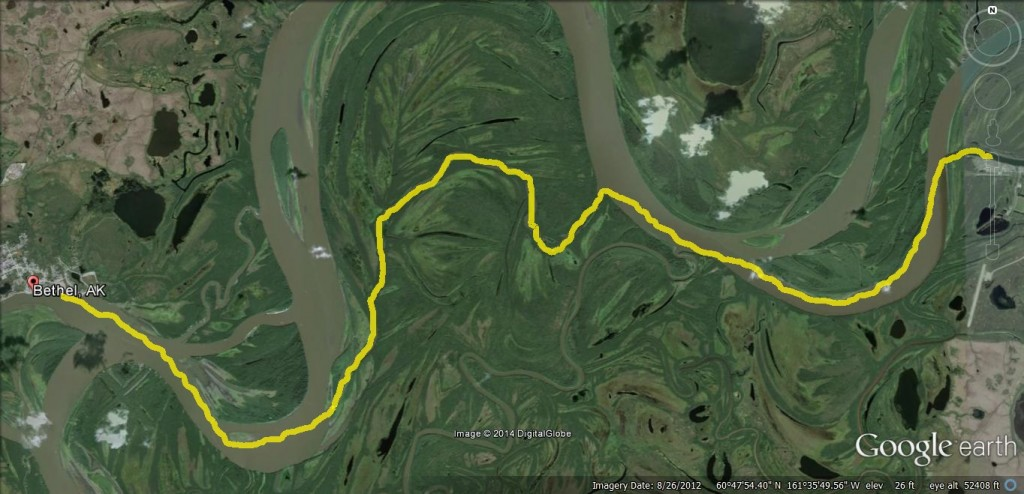 This is the route BSAR marked on 12-6 between Bethel and Kwethluk