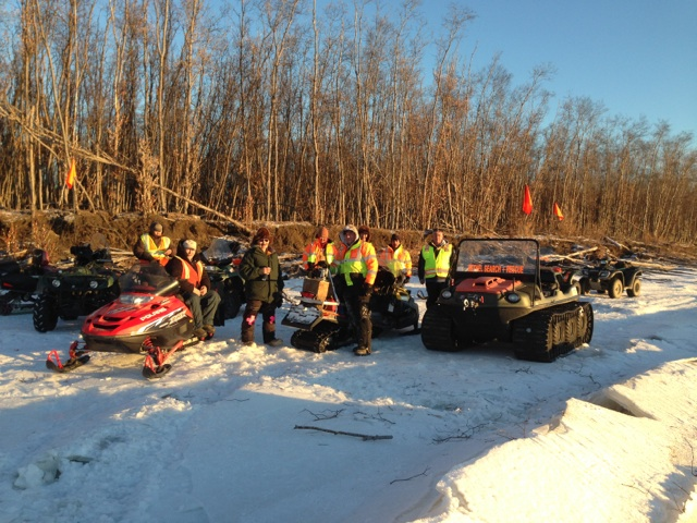 BSAR crew takes a coffee break with Kwethluk's main winter safety man: Elia Epchook (3rd from left)