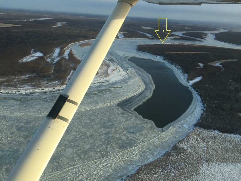 Looking downstream at the upper end of Kuskokwaq Slough. This open holes is just around the bend from where we lost 3 people in 2014 (yellow arrow)
