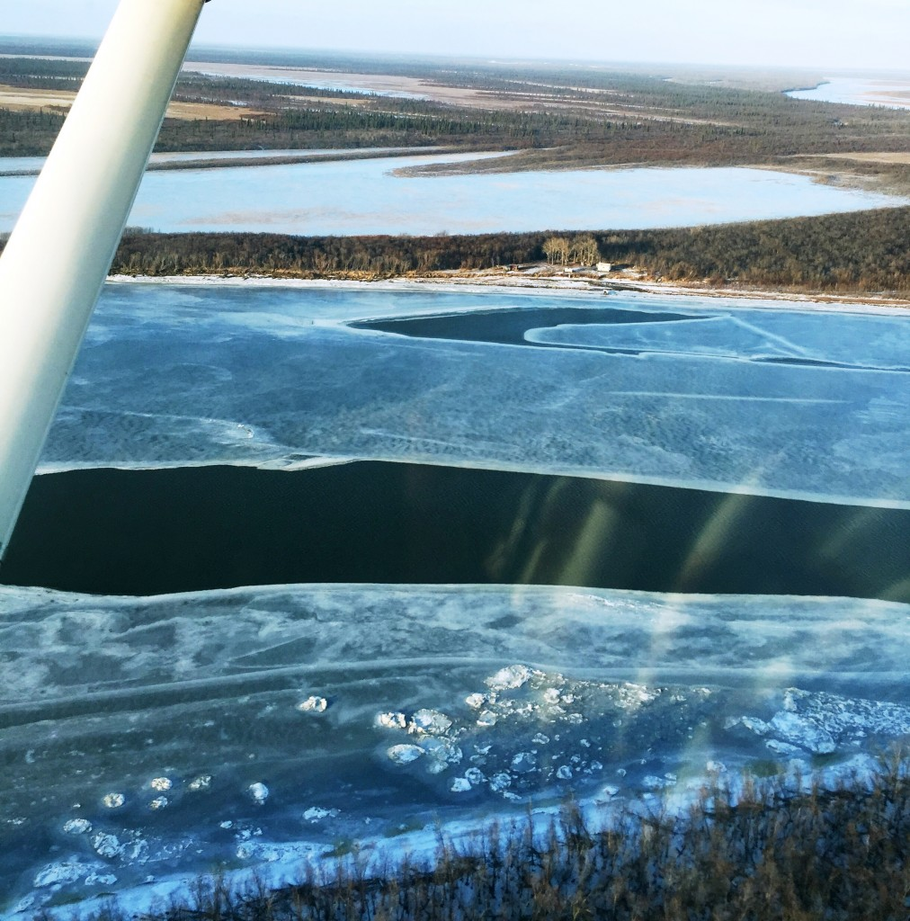 Two open holes in front of Wassilie B. Evan's camp. There are 30 open holes in Kuskokwaq Slough alone