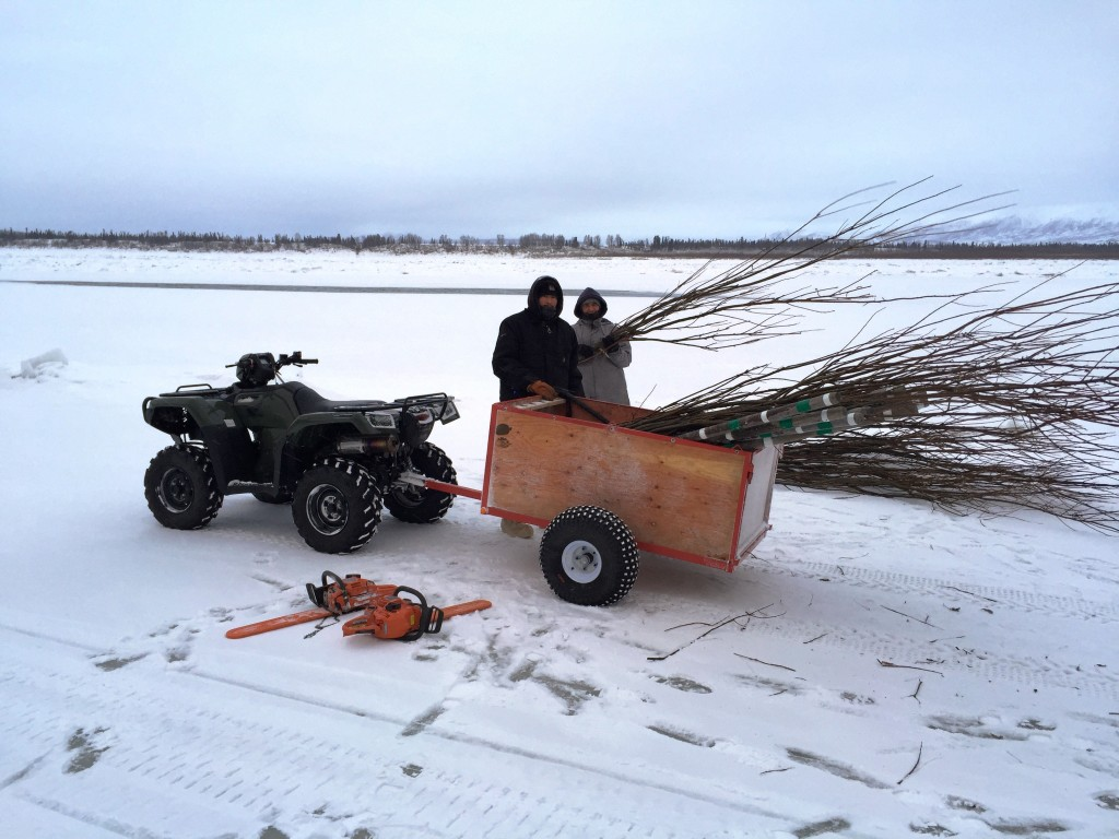 Chuathbaluk SAR members preparing to mark the 6 open holes between their village and Aniak. L-R: Jeffrey Hunter & Cameron Phillips