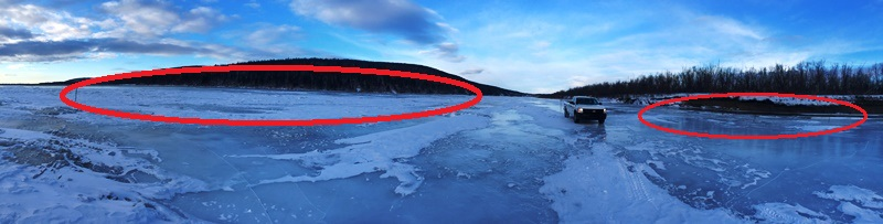 Panoramic View of the River just below the barge landing at Harry's Gravel Pit: the red circles are OPEN WATER - the road is in between